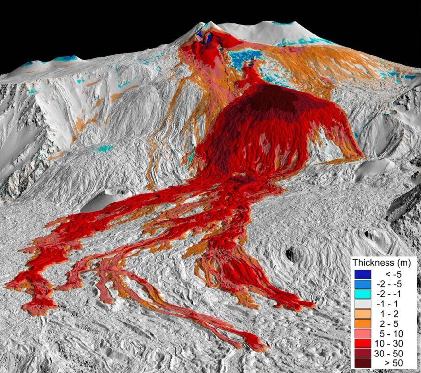 Etna: una nuova mappa mostra come cambia volto