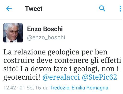 Effetti di sito, Enzo Boschi lancia il suo Tweet