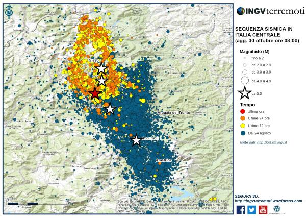 Sequenza sismica in Italia centrale: nuovo evento M6.5, stamane ore 7:40