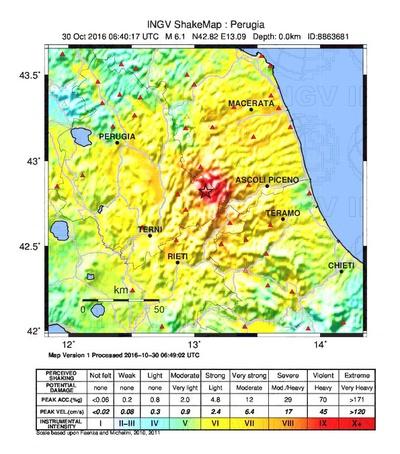 Terremoto di magnitudo 6.5 del 30-10-2016, le mappe di scuotimento dell'INGV