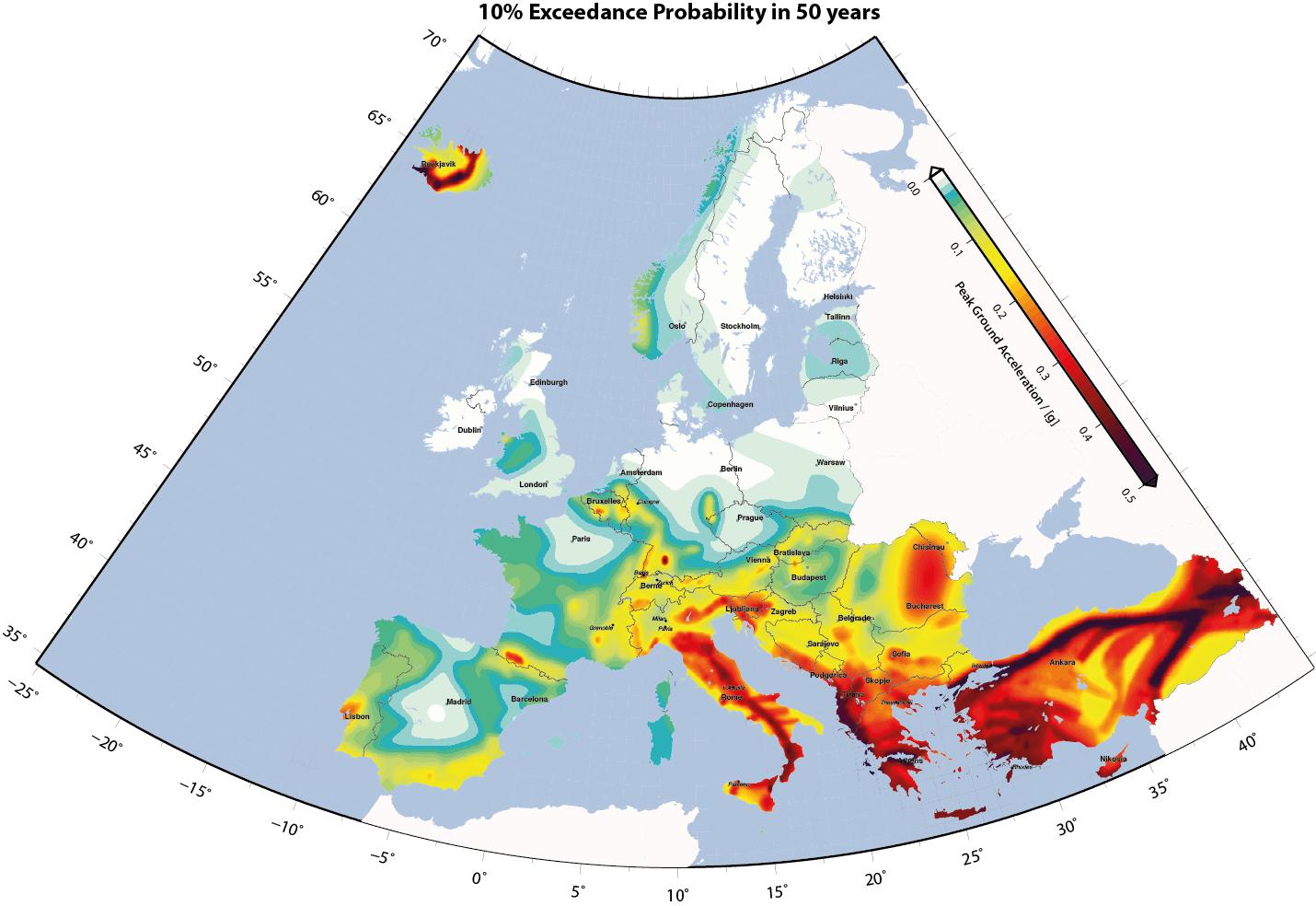 Terremoti in Europa: ecco la pericolosità sismica nei paesi del continente europeo