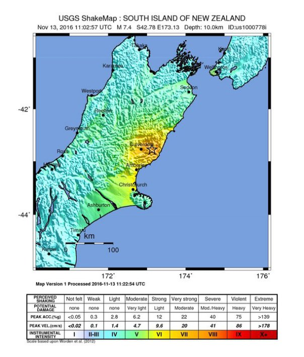 Terremoto M8.1 in Nuova Zelanda alle 12:03 (ital.) del 13 novembre