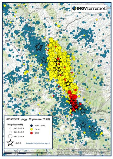 Aggiornamento eventi sismici in provincia dell'Aquila