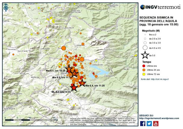 Aggiornamento eventi sismici in provincia dell'Aquila, 18 gennaio 2017 ore 15:00