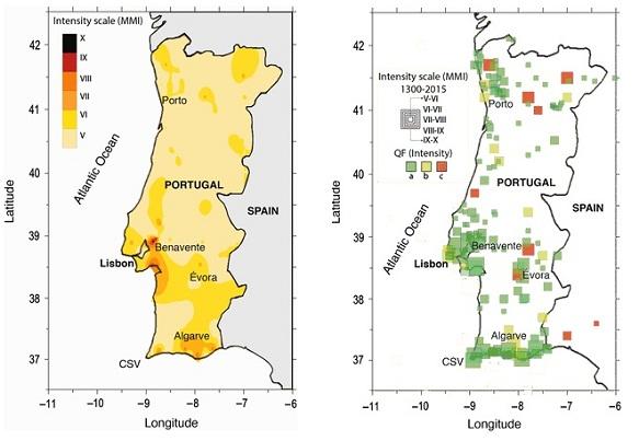 Terremoti in Portogallo, pubblicata la prima mappa delle massime intensità macrosismiche registrate fra il 1300 ed il 2014