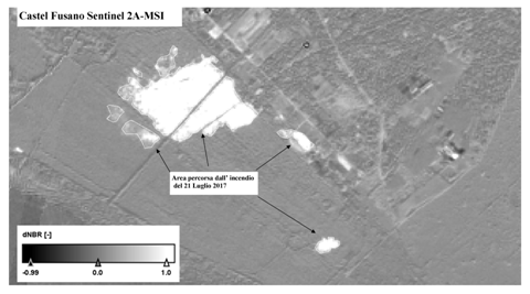 L'INGV controlla le aree bruciate di Castel Fusano da satellite
