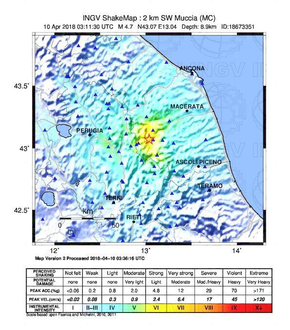 Evento sismico in provincia di Macerata, Ml 4.7, 10 aprile 2018