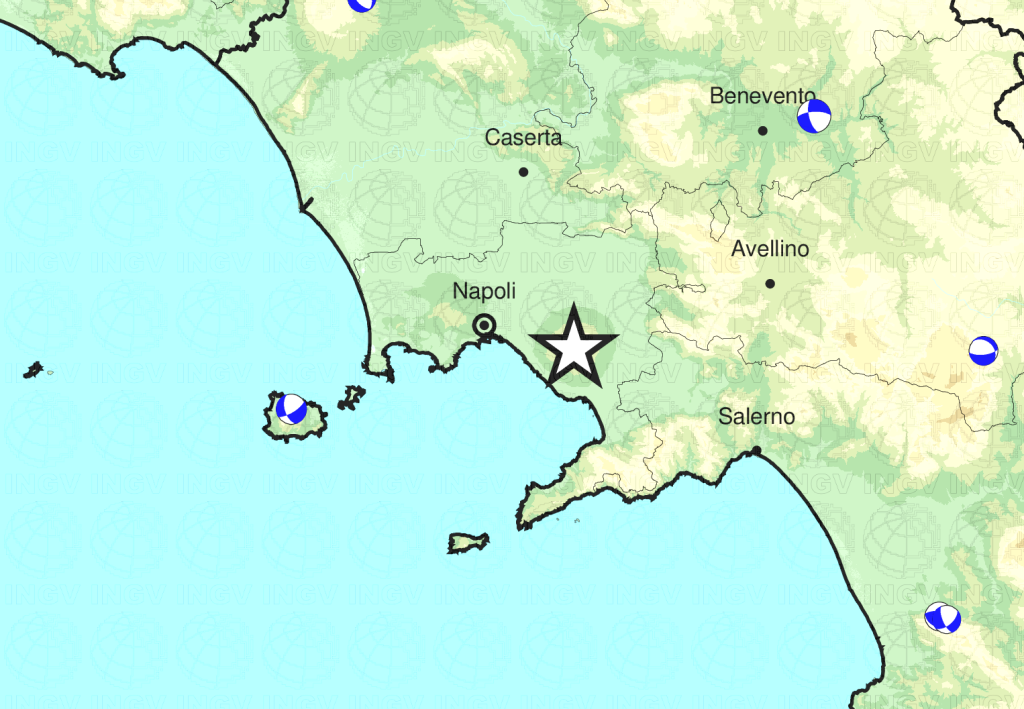 Vesuvio, ancora un sisma di Magnitudo 2.3 questa sera alle 20:09