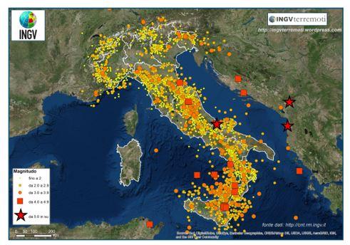 L'INGV pubblica i terremoti in Italia del 2018