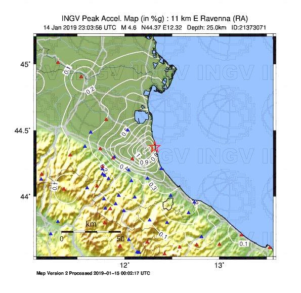 Evento sismico a Ravenna di ML 4.6