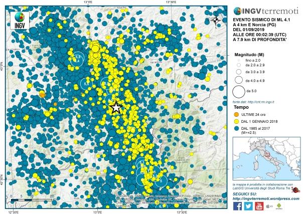 Aggiornamento evento sismico a Norcia (PG) del 1 settembre 2019, Ml 4.1 (Mw 4.0)