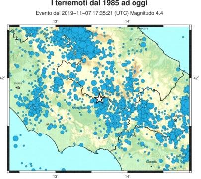 TERREMOTO: MAGNITUDO 4.4 NELLE PROVINCE DI FROSINONE E L'AQUILA