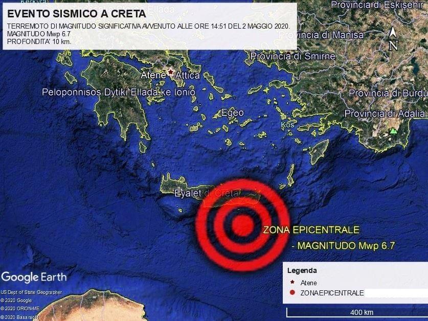 Forte terremoto di magnitudo 6.7 al largo di Creta