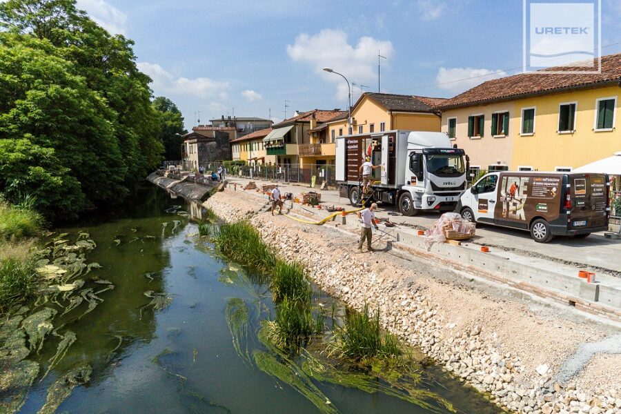 La tecnologia Microanchors di Uretek per il consolidamento di muri di sostegno di canali, il caso di Stra (Ve)