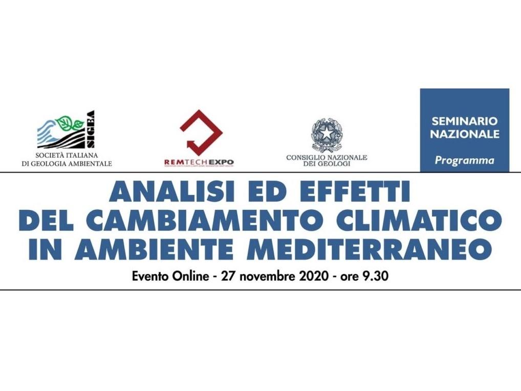 Analisi ed effetti dei cambiamenti climatici in ambiente mediterraneo. L'evento on-line di SIGEA